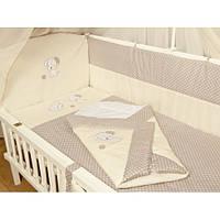 """Детское постельное белье в кроватку+Конверт на выписку новорожденного """"Песик вышивка беж"""""""