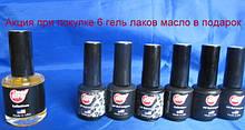 Акция при покупке набора 6 гель лаков My Nail 9 мл -масло My Nail 15 мл в подарок
