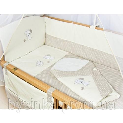 """Детское постельное белье в кроватку+Конверт на выписку новорожденного """"Песик белый"""""""