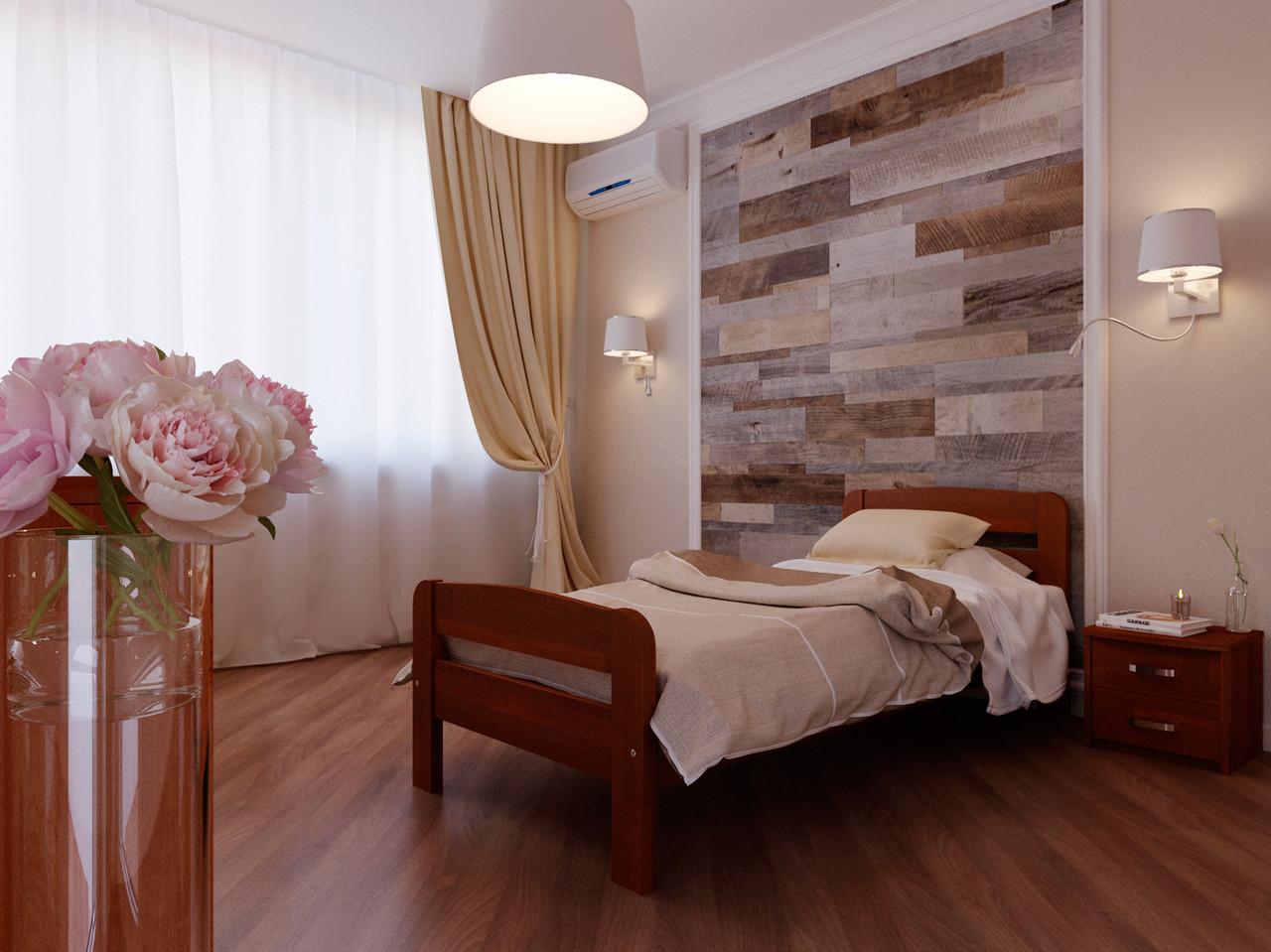 Ліжко односпальні з натурального дерева в спальню/дитячу Октавія 2 (Бук)80*190Неомеблі