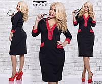 Женское платье черный с красным батал 48-54