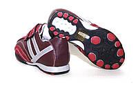 Детские красные кожаные кроссовки на липучках.