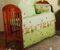 Набор в детскую кроватку из 7 предметов: постель, защита, карман, одеяло,подушка,100% хлопок