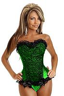 Зеленый узорный корсет