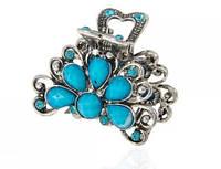 Краб для волос металл с голубыми камнями L 4 см