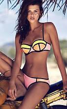 Бандажный купальник кольоровий