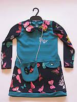 Красивое платье-туника с сумочкой р-р 110
