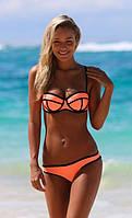 Бандажный купальник оранжевый
