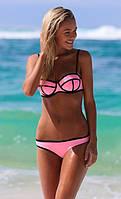 Бандажный купальник розовый