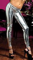 Леггинсы лаковые серебро