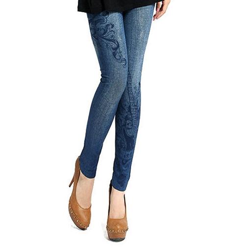 Леггинсы-джинсы с принтом