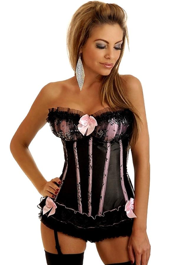Чёрный корсет с розовыми вставками