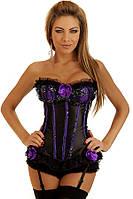 Чёрный корсет с фиолетовыми вставками