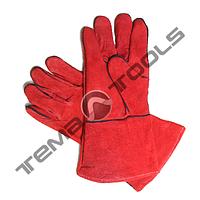 Защитные перчатки сварщика (краги) 35 см, красные