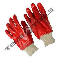 """Перчатки кислотостойкие, х/б трикотаж, полное ПВХ покрытие, вязаный манжет (красные) 10,5"""", 123-127 г"""