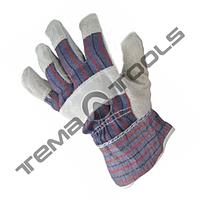 """Перчатки комбинированные из замши и ткани, цельная ладонь, 10,5"""", 190-200 г"""