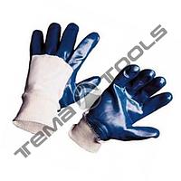"""Перчатки масло-бензостойкие утепленные, нитриловое покрытие, вязаный манжет (синие) 10,5"""", 104-108 г"""