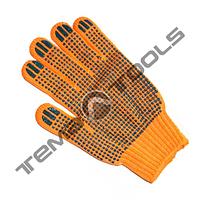 Рабочие перчатки х/б оранжевая с пвх покрытием