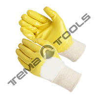 """Перчатки стекольщика, х/б ткань с латексным ребристым покрытием (желтые), 10,5"""", 90-92 г"""
