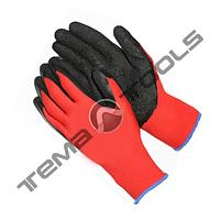 """Перчатки трикотажные бесшовные с нитриловым покрытием ладони (красно-черные) 10"""", 40–42 г"""