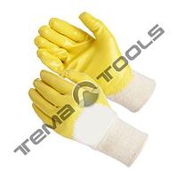 """Перчатки трикотажные с неполным нитриловым покрытием, вязаный манжет (желтые) 10"""", 58–60 г"""