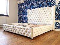 """Двуспальная кровать  """"Opium""""  с подъемным механизмом и мягким высоким изголовьем честер с утяжка"""