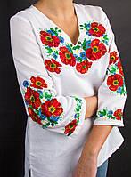"""Блуза на домотканом полотне """"Полевой букет"""", 42-46 р-ры, 550/450 (цена за 1 шт. + 100 гр.)"""