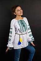 """Вышиванка """"Лазурная"""" белая домотканка, 44-54 р-ры, 590/530 (цена за 1 шт. + 60 гр.)"""