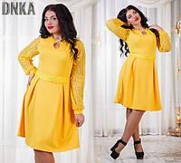 Платье женское большие размеры желтое /ат1023.2