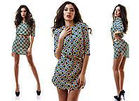 Платье женское короткое с абстракцией и поясом P1227, фото 1