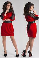 Платье женское красное с кружевом 8595