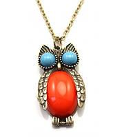 Кулон Сова с оранжевым и голубыми камнями