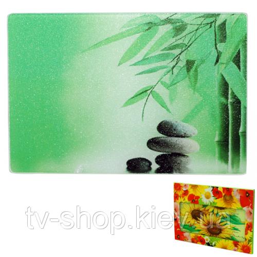 Стеклянная кухонная доска Зеленый бамбук (30х40 см)