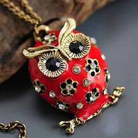 Кулон Сова с эмалью и стразами красная, фото 1