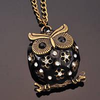 Кулон Сова с эмалью и стразами черная, фото 1