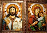 """""""Иверская  Венчальная пара """" Две иконы из натурального янтаря."""