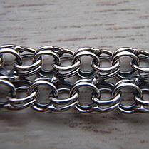 Серебряный браслет, 195мм, 12 грамм, плетение двойной Бисмарк, фото 2