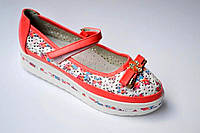Туфли для девочки кораловые  р 33-37