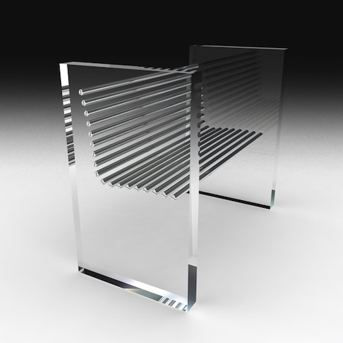 Скамейка из нержавейки со стеклом