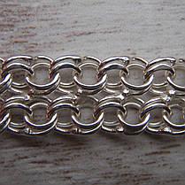 Серебряный браслет, 180мм, 11 грамм, плетение двойной Бисмарк, фото 3