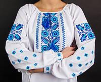 """Блуза с вышивкой на домотканом полотне """"Голубые незабудки"""", 550/500 (цена за 1 шт. + 50 гр.)"""