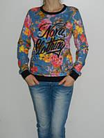Нежный свитшот с джинсовым принтом и цветами Possession 3022 рр. 46-48 Турция