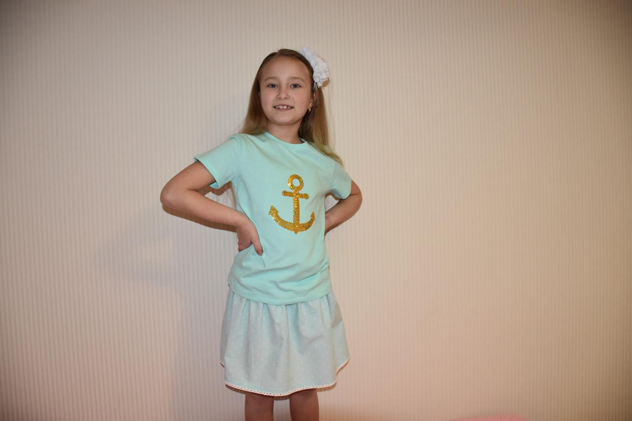 Футболка для девочки морской стиль