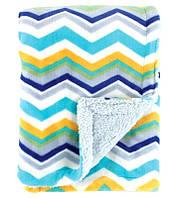 Теплое двухслойное одеяло-плед для мальчика зигзаги, Hudson Baby, 76х102см, с вешалкой