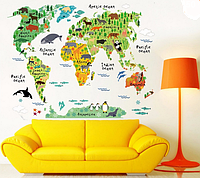 """Наклейка на стену, украшения стены наклейки в офис, в детскую, в школу """"карта мира"""" (лист 60*90см)"""