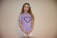 Сиреневая футболка сердечком