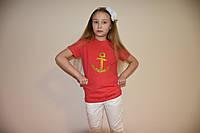 Коралловая футболка с якорем , фото 1