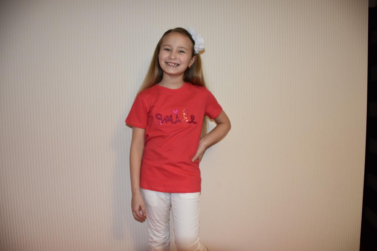 Коралловая футболка Smile