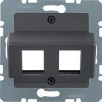 """Накладка для модулей Modular Jacks """"Krone"""" алюминий Berker B.3/B.7/K.1 14641606"""