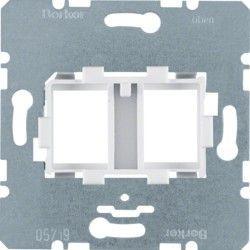 Опорная пластина для модульных разъемов с белой вставкой 2-кратная Berker 454105 - Торговый Дом «ЭЛЕКТРИК» в Борисполе